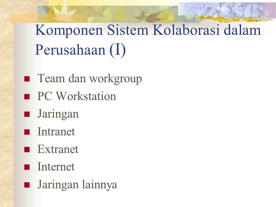 Komponen Sistem Kolaborasi dalam Perusahaan (I) Team dan workgroup PC Workstation Jaringan Intranet Extranet Internet Jaringan lainnya