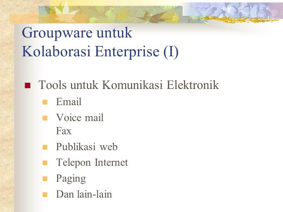Groupware untuk Kolaborasi Enterprise (I) Tools untuk Komunikasi Elektronik Email Voice mail Fax Publikasi web Telepon Internet Paging Dan lain-lain