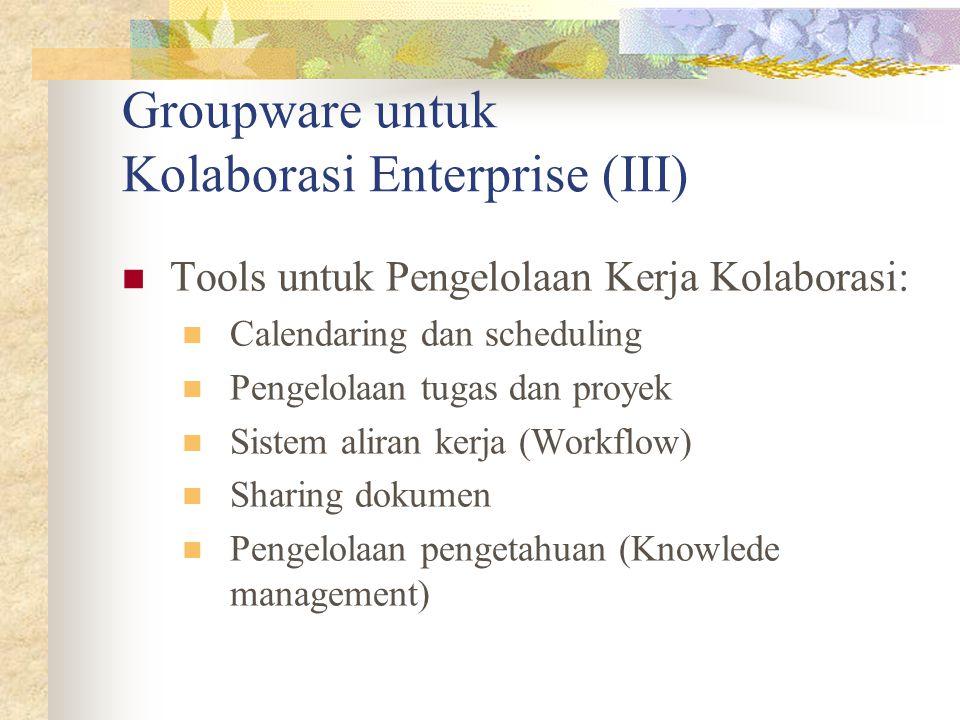 Groupware untuk Kolaborasi Enterprise (III) Tools untuk Pengelolaan Kerja Kolaborasi: Calendaring dan scheduling Pengelolaan tugas dan proyek Sistem a