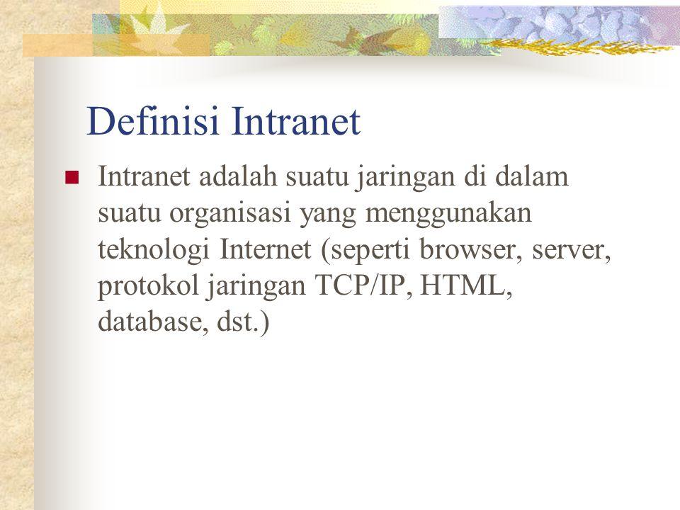 Definisi Intranet Intranet adalah suatu jaringan di dalam suatu organisasi yang menggunakan teknologi Internet (seperti browser, server, protokol jari