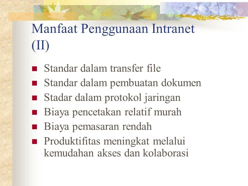 Manfaat Penggunaan Intranet (II) Standar dalam transfer file Standar dalam pembuatan dokumen Stadar dalam protokol jaringan Biaya pencetakan relatif m