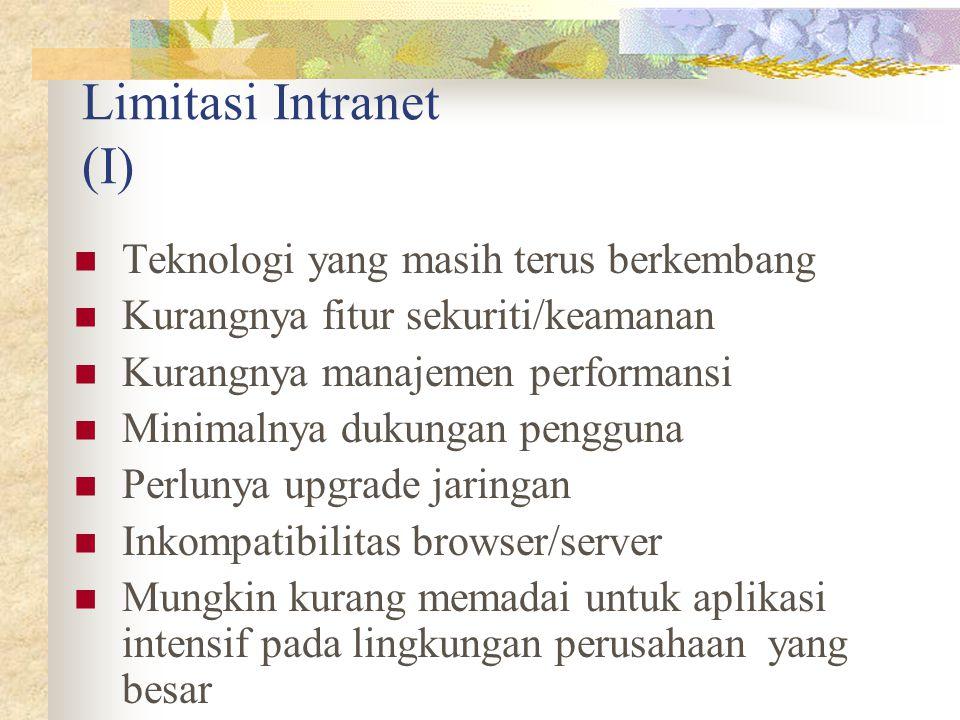 Limitasi Intranet (I) Teknologi yang masih terus berkembang Kurangnya fitur sekuriti/keamanan Kurangnya manajemen performansi Minimalnya dukungan peng