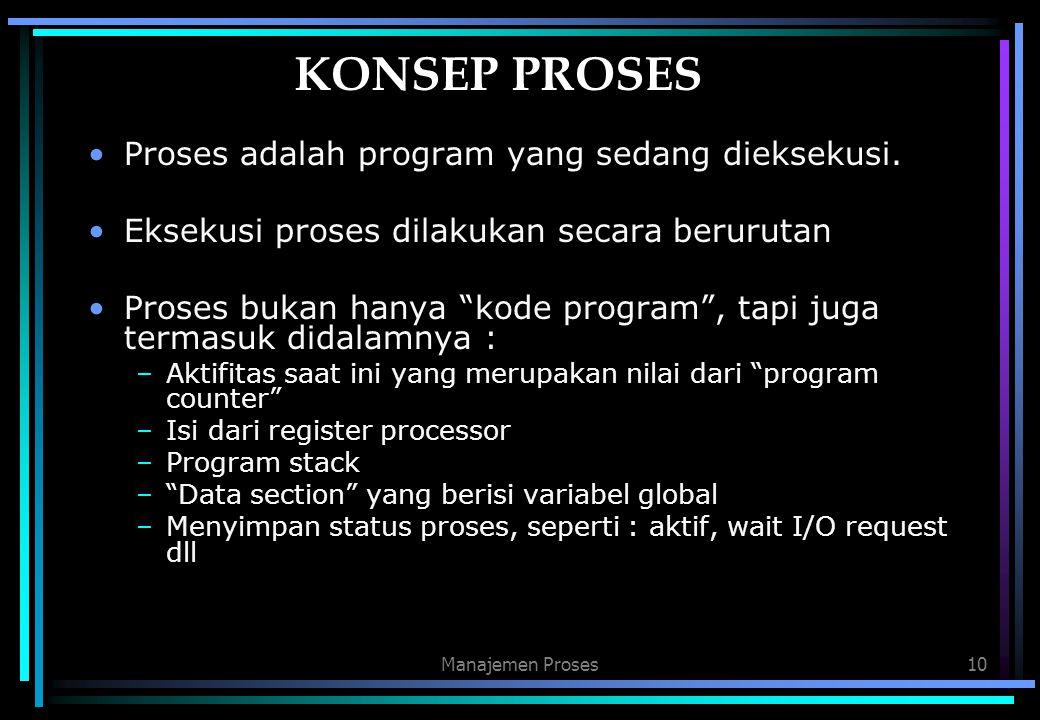 """Manajemen Proses10 KONSEP PROSES Proses adalah program yang sedang dieksekusi. Eksekusi proses dilakukan secara berurutan Proses bukan hanya """"kode pro"""
