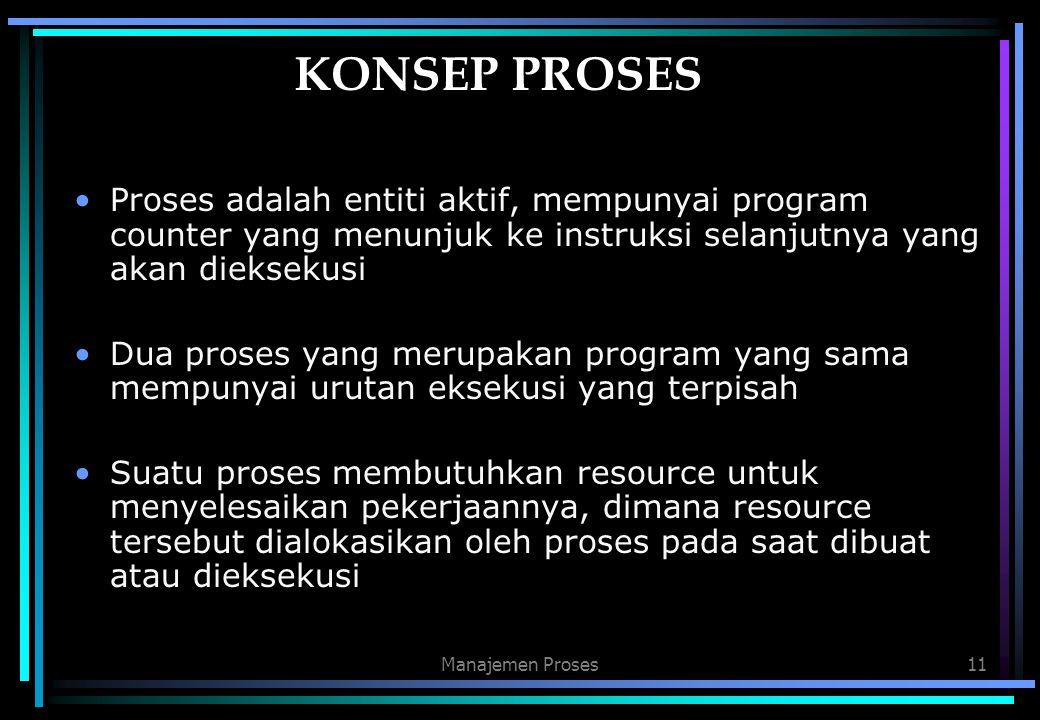 Manajemen Proses11 KONSEP PROSES Proses adalah entiti aktif, mempunyai program counter yang menunjuk ke instruksi selanjutnya yang akan dieksekusi Dua