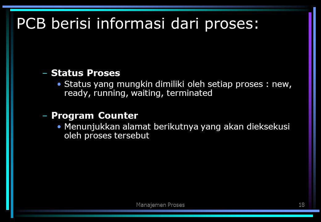PCB berisi informasi dari proses: –Status Proses Status yang mungkin dimiliki oleh setiap proses : new, ready, running, waiting, terminated –Program C
