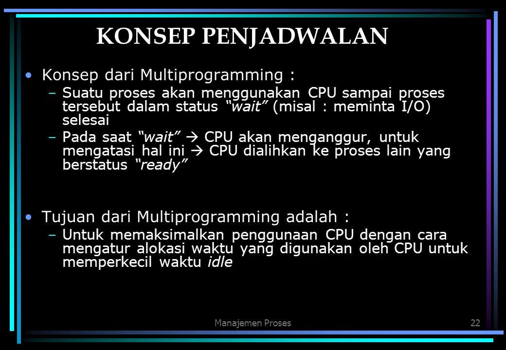 """Manajemen Proses22 KONSEP PENJADWALAN Konsep dari Multiprogramming : –Suatu proses akan menggunakan CPU sampai proses tersebut dalam status """"wait"""" (mi"""