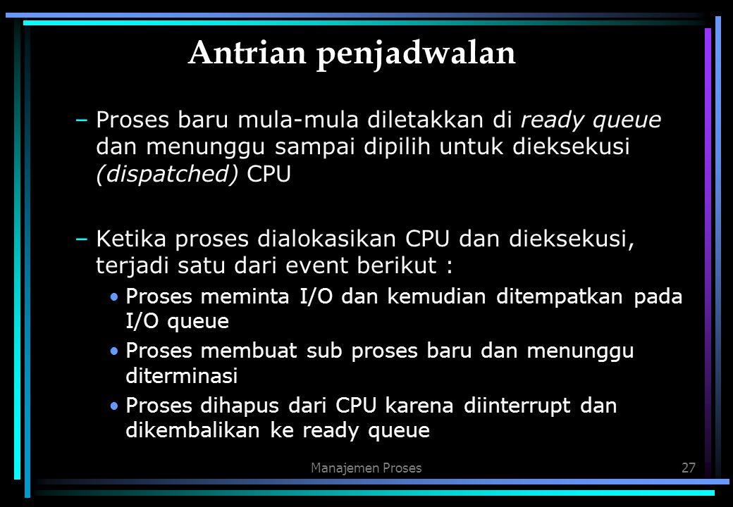 Manajemen Proses27 Antrian penjadwalan –Proses baru mula-mula diletakkan di ready queue dan menunggu sampai dipilih untuk dieksekusi (dispatched) CPU
