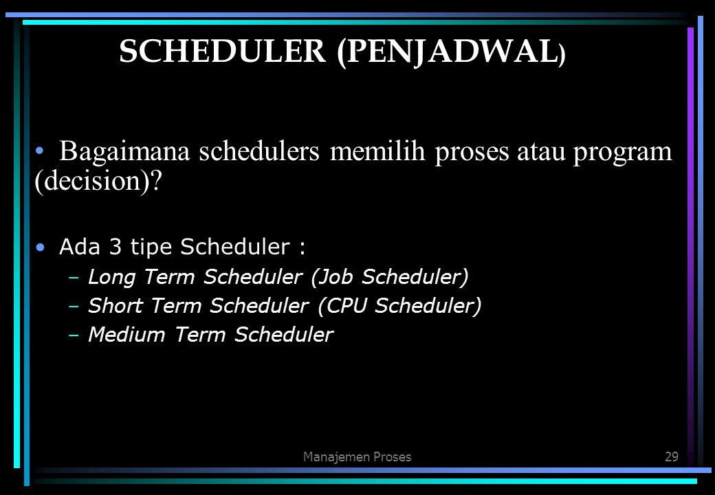 Manajemen Proses29 SCHEDULER (PENJADWAL ) Bagaimana schedulers memilih proses atau program (decision)? Ada 3 tipe Scheduler : –Long Term Scheduler (Jo