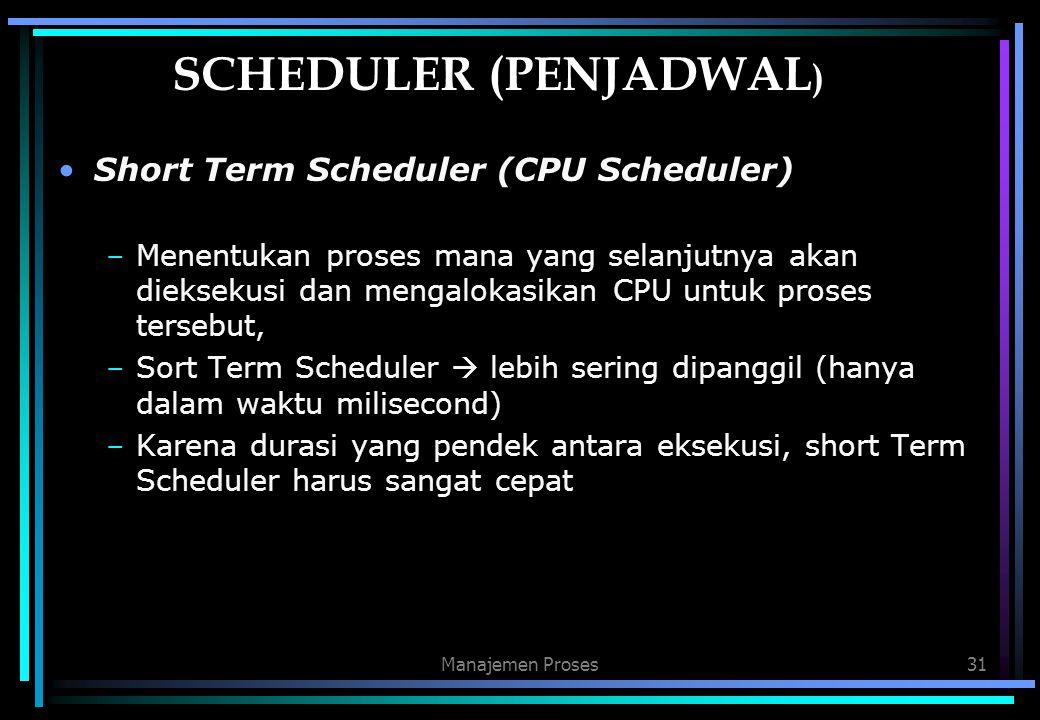 Manajemen Proses31 SCHEDULER (PENJADWAL ) Short Term Scheduler (CPU Scheduler) –Menentukan proses mana yang selanjutnya akan dieksekusi dan mengalokas