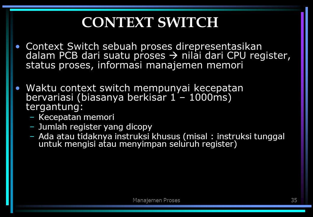 Manajemen Proses35 CONTEXT SWITCH Context Switch sebuah proses direpresentasikan dalam PCB dari suatu proses  nilai dari CPU register, status proses,