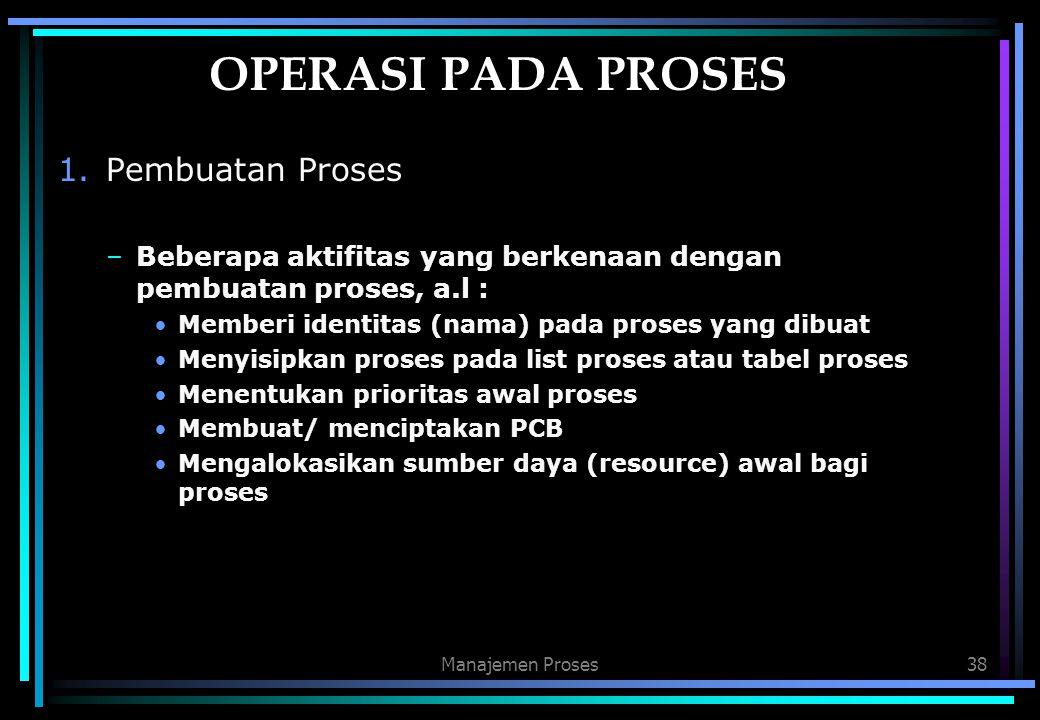 Manajemen Proses38 OPERASI PADA PROSES 1.Pembuatan Proses –Beberapa aktifitas yang berkenaan dengan pembuatan proses, a.l : Memberi identitas (nama) p