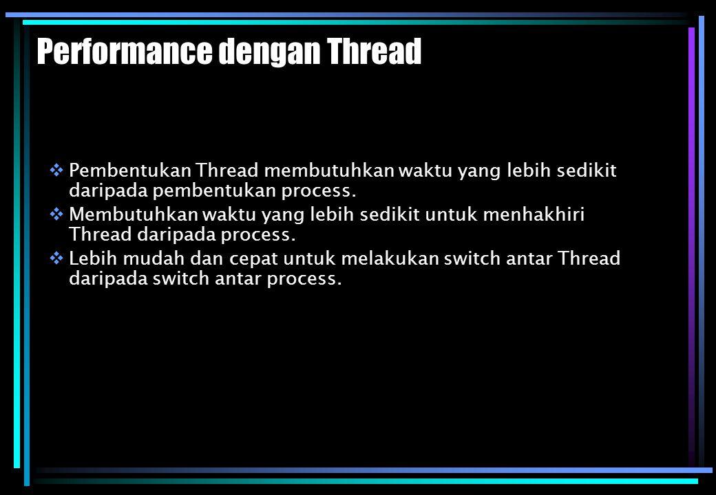 Performance dengan Thread  Pembentukan Thread membutuhkan waktu yang lebih sedikit daripada pembentukan process.  Membutuhkan waktu yang lebih sedik