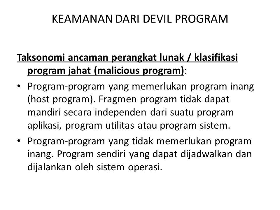 KEAMANAN DARI DEVIL PROGRAM Taksonomi ancaman perangkat lunak / klasifikasi program jahat (malicious program): Program-program yang memerlukan program