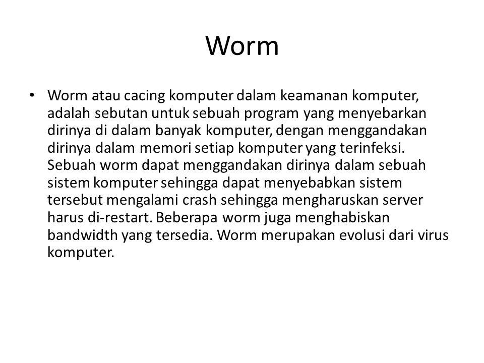 Worm Worm atau cacing komputer dalam keamanan komputer, adalah sebutan untuk sebuah program yang menyebarkan dirinya di dalam banyak komputer, dengan