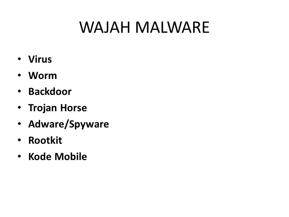 WAJAH MALWARE Virus Worm Backdoor Trojan Horse Adware/Spyware Rootkit Kode Mobile
