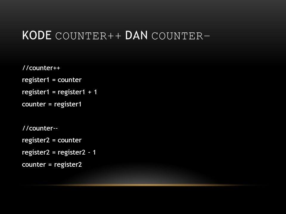 KODE COUNTER++ DAN COUNTER– //counter++ register1 = counter register1 = register1 + 1 counter = register1 //counter-- register2 = counter register2 =