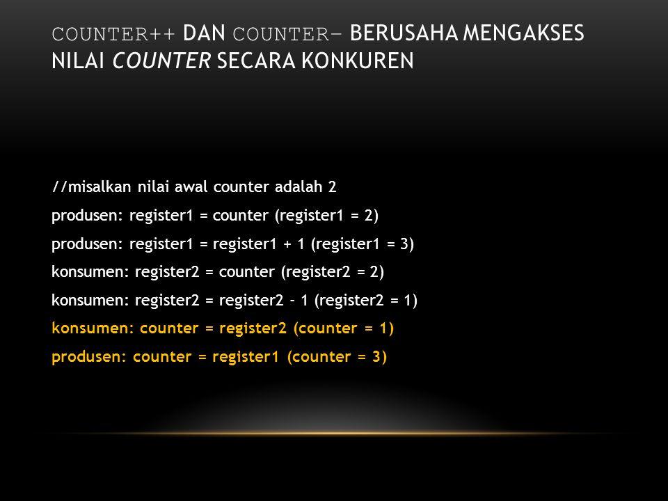 COUNTER++ DAN COUNTER– BERUSAHA MENGAKSES NILAI COUNTER SECARA KONKUREN //misalkan nilai awal counter adalah 2 produsen: register1 = counter (register