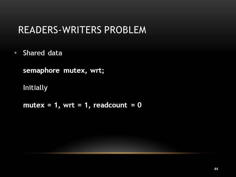 44 READERS-WRITERS PROBLEM Shared data semaphore mutex, wrt; Initially mutex = 1, wrt = 1, readcount = 0