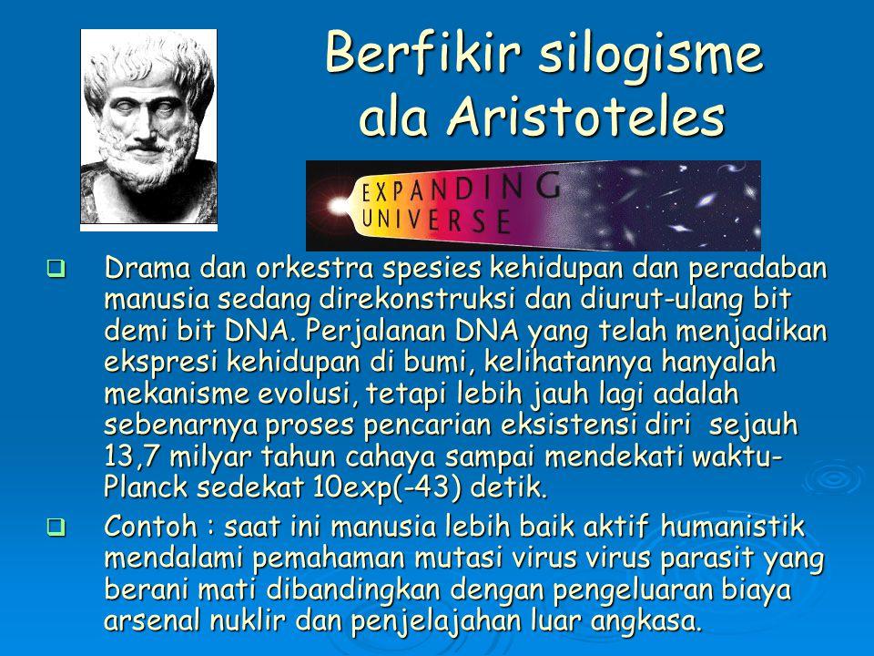 Berfikir silogisme ala Aristoteles  Drama dan orkestra spesies kehidupan dan peradaban manusia sedang direkonstruksi dan diurut-ulang bit demi bit DNA.