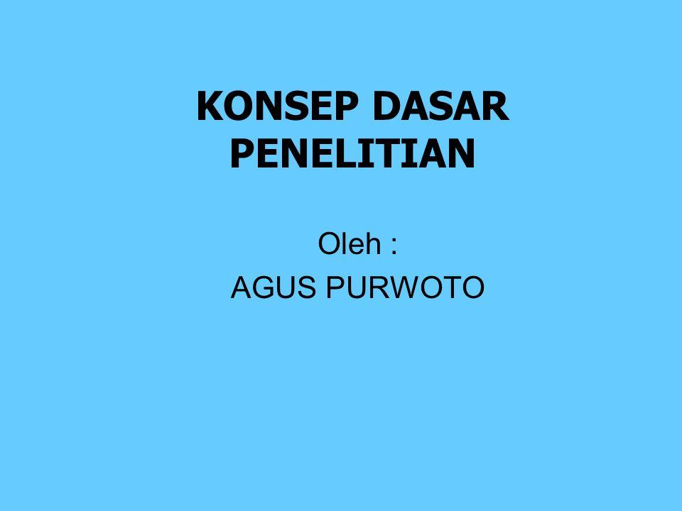 KONSEP DASAR PENELITIAN Oleh : AGUS PURWOTO