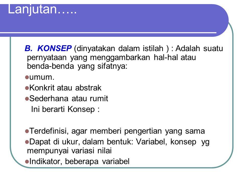 Lanjutan….. B. KONSEP (dinyatakan dalam istilah ) : Adalah suatu pernyataan yang menggambarkan hal-hal atau benda-benda yang sifatnya: umum. Konkrit a
