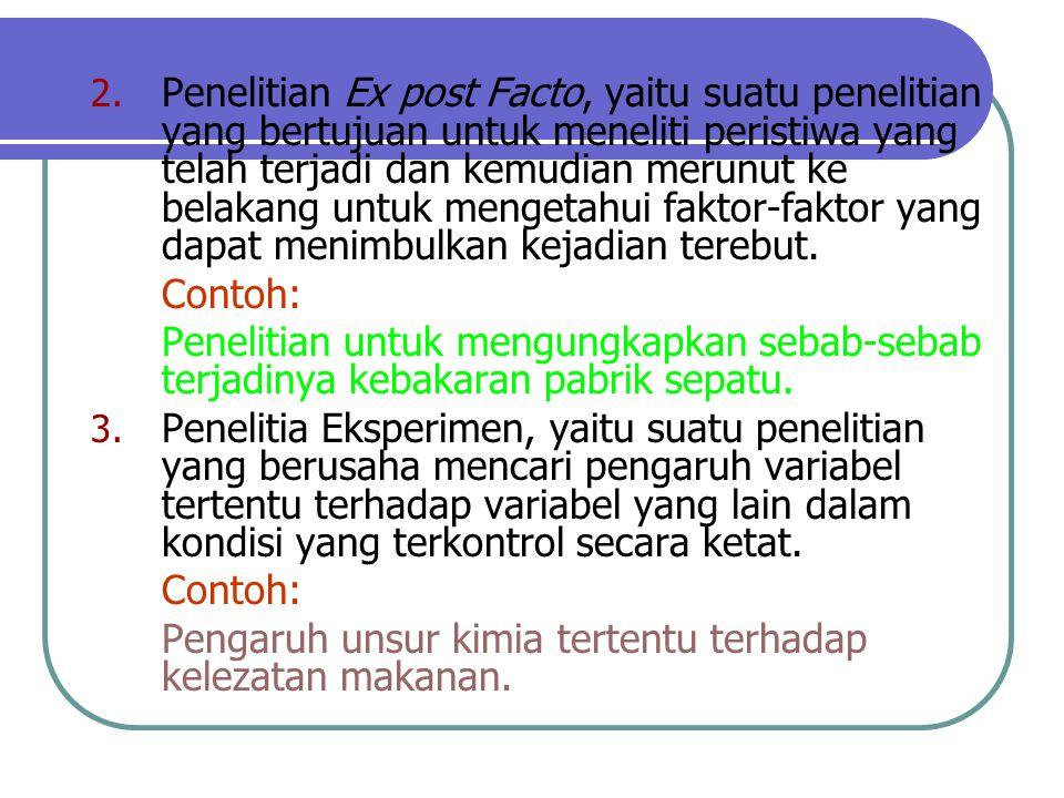2. Penelitian Ex post Facto, yaitu suatu penelitian yang bertujuan untuk meneliti peristiwa yang telah terjadi dan kemudian merunut ke belakang untuk