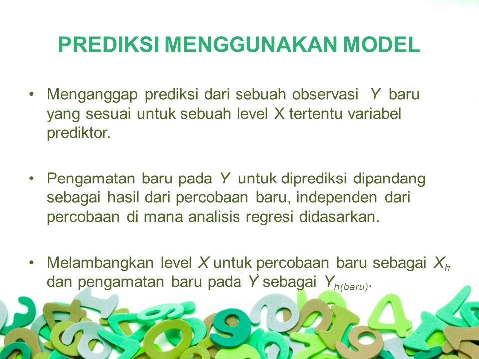 PREDIKSI MENGGUNAKAN MODEL Menganggap prediksi dari sebuah observasi Y baru yang sesuai untuk sebuah level X tertentu variabel prediktor.