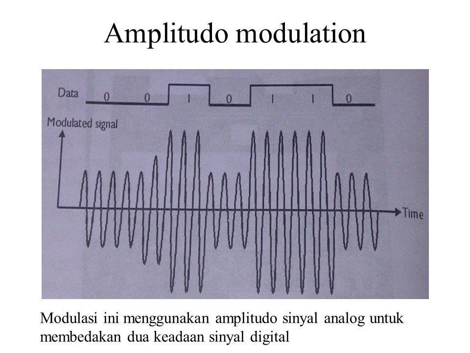 Amplitudo modulation Modulasi ini menggunakan amplitudo sinyal analog untuk membedakan dua keadaan sinyal digital