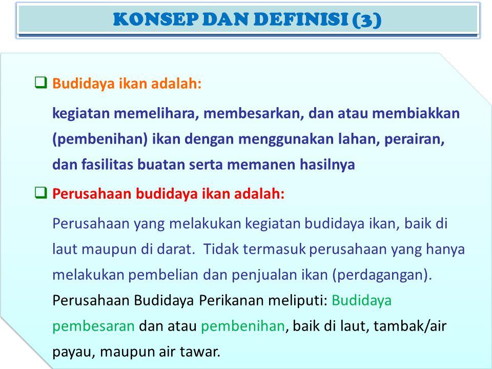 KONSEP DAN DEFINISI (2) KONSEP DAN DEFINISI (3)  Budidaya ikan adalah: kegiatan memelihara, membesarkan, dan atau membiakkan (pembenihan) ikan dengan