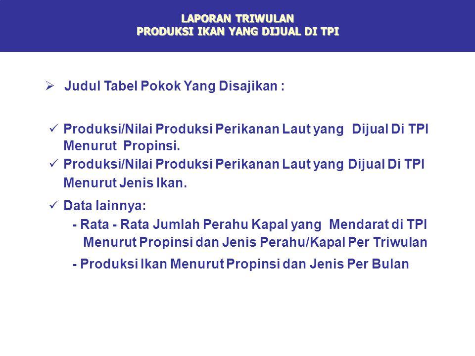 LAPORAN TRIWULAN PRODUKSI IKAN YANG DIJUAL DI TPI Produksi/Nilai Produksi Perikanan Laut yang Dijual Di TPI Menurut Propinsi. Produksi/Nilai Produksi