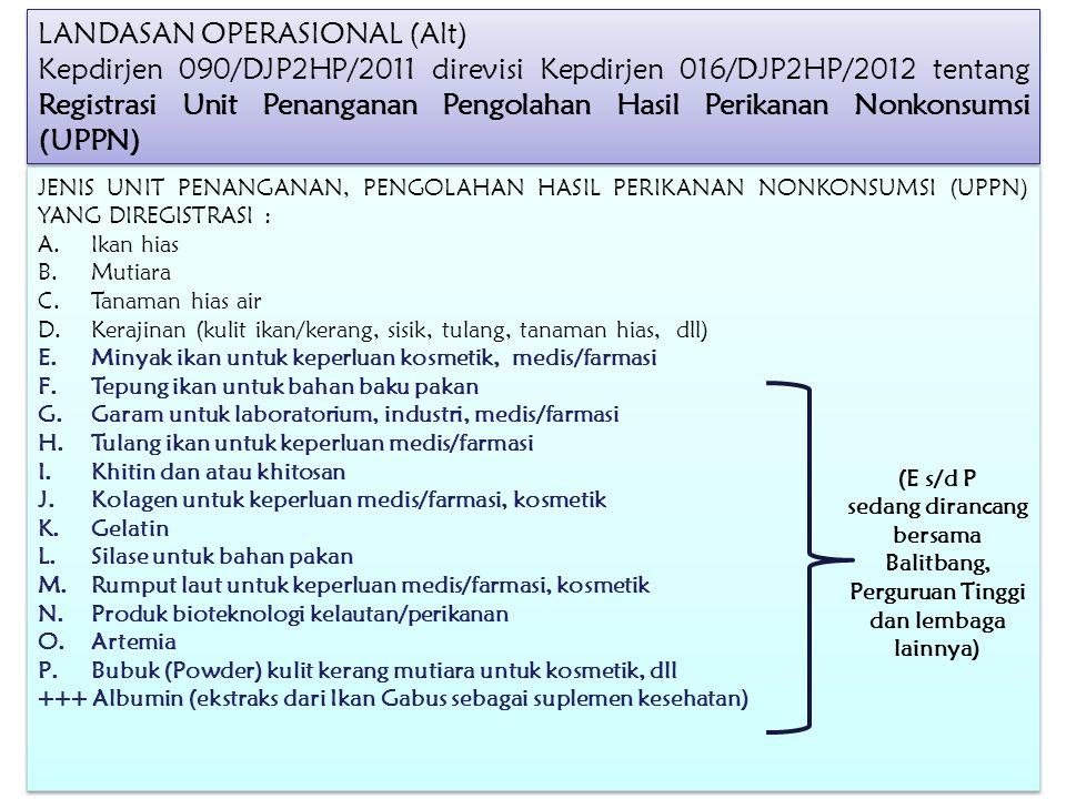 LANDASAN OPERASIONAL (Alt) Kepdirjen 090/DJP2HP/2011 direvisi Kepdirjen 016/DJP2HP/2012 tentang Registrasi Unit Penanganan Pengolahan Hasil Perikanan