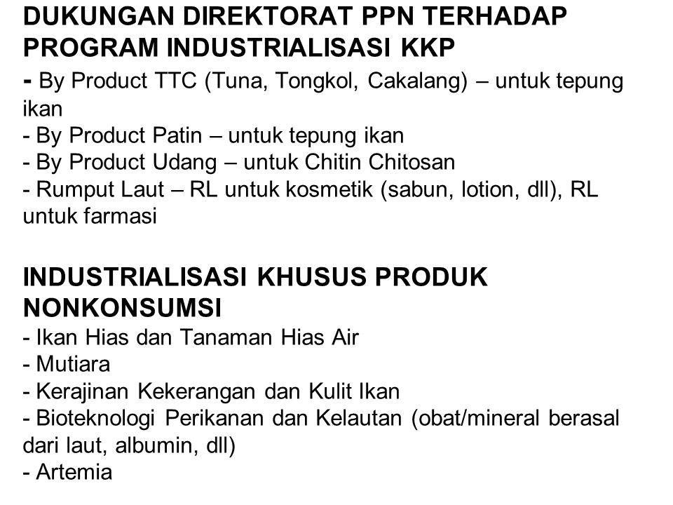 DUKUNGAN DIREKTORAT PPN TERHADAP PROGRAM INDUSTRIALISASI KKP - By Product TTC (Tuna, Tongkol, Cakalang) – untuk tepung ikan - By Product Patin – untuk