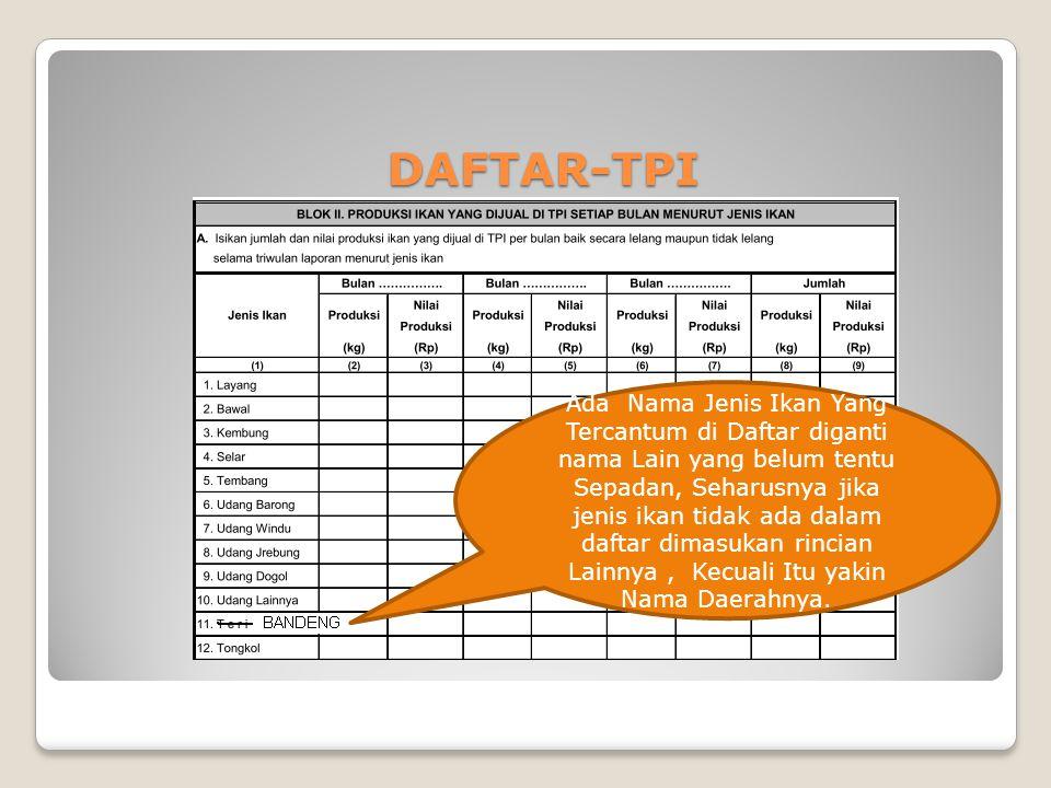 DAFTAR-TPI Ada Nama Jenis Ikan Yang Tercantum di Daftar diganti nama Lain yang belum tentu Sepadan, Seharusnya jika jenis ikan tidak ada dalam daftar