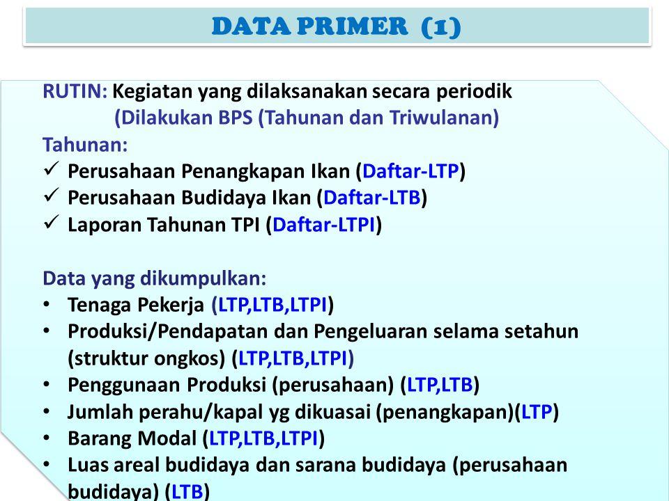 DATA PRIMER (1) RUTIN: Kegiatan yang dilaksanakan secara periodik (Dilakukan BPS (Tahunan dan Triwulanan) Tahunan: Perusahaan Penangkapan Ikan (Daftar