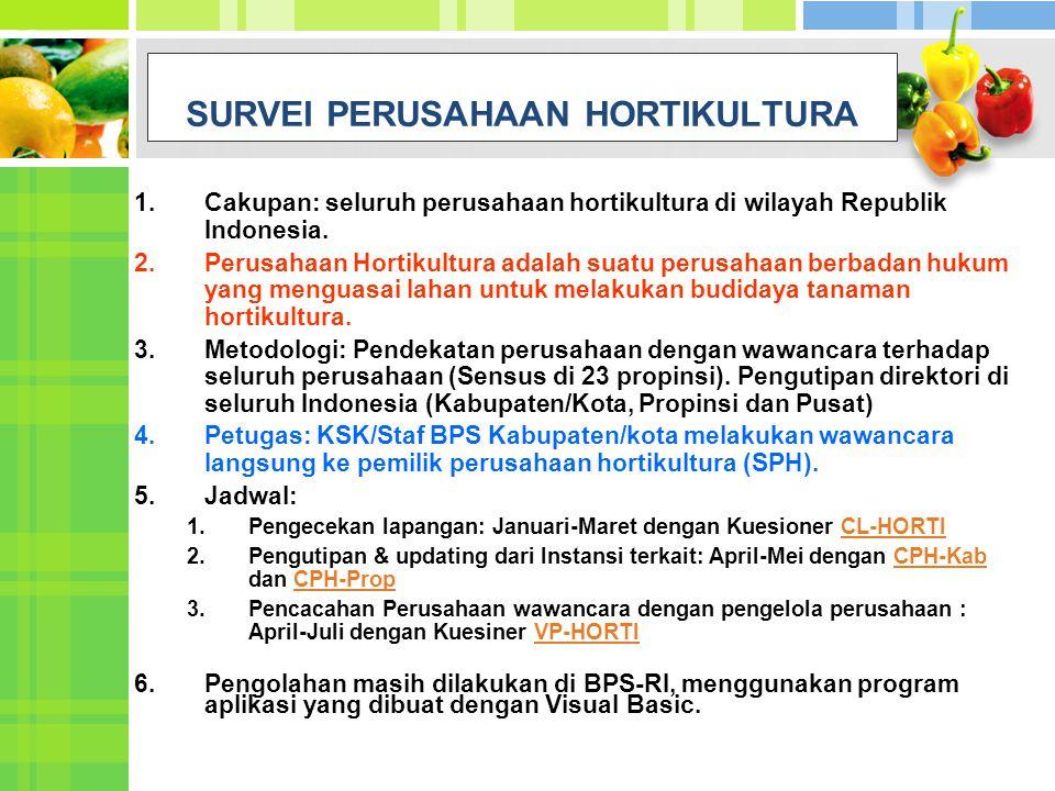 1.Cakupan: seluruh perusahaan hortikultura di wilayah Republik Indonesia. 2.Perusahaan Hortikultura adalah suatu perusahaan berbadan hukum yang mengua