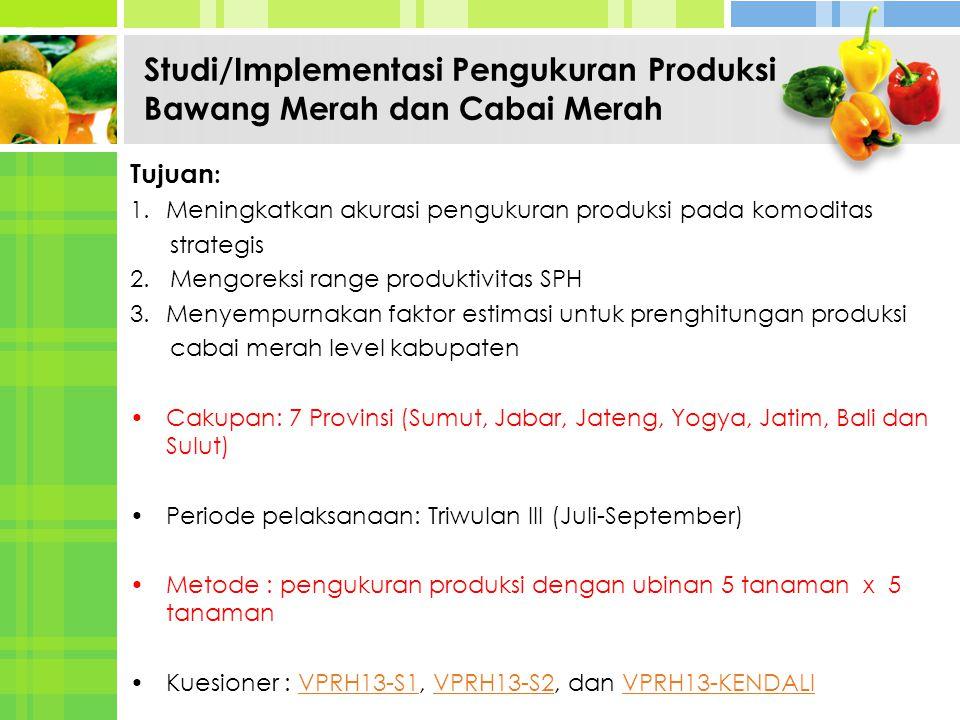 Studi/Implementasi Pengukuran Produksi Bawang Merah dan Cabai Merah Tujuan : 1.Meningkatkan akurasi pengukuran produksi pada komoditas strategis 2. Me
