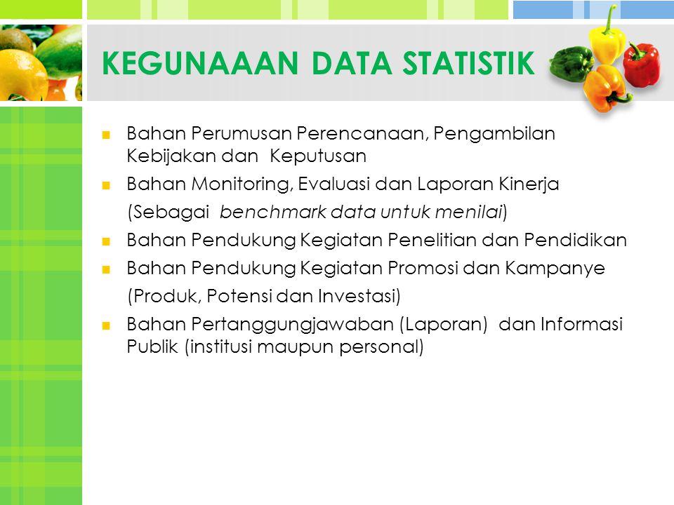 KEGUNAAAN DATA STATISTIK Bahan Perumusan Perencanaan, Pengambilan Kebijakan dan Keputusan Bahan Monitoring, Evaluasi dan Laporan Kinerja (Sebagai benc