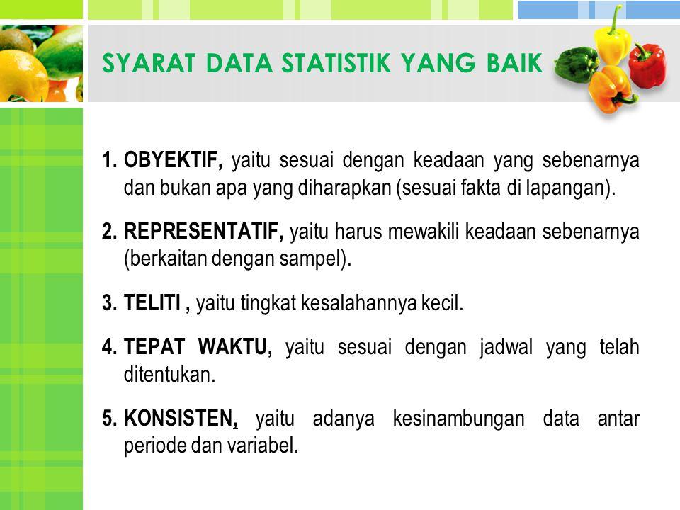 SYARAT DATA STATISTIK YANG BAIK 1. OBYEKTIF, yaitu sesuai dengan keadaan yang sebenarnya dan bukan apa yang diharapkan (sesuai fakta di lapangan). 2.R