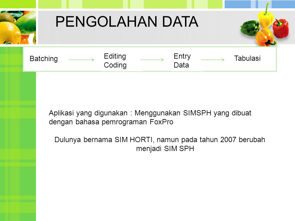 Batching Editing Coding Entry Data Tabulasi PENGOLAHAN DATA Aplikasi yang digunakan : Menggunakan SIMSPH yang dibuat dengan bahasa pemrograman FoxPro