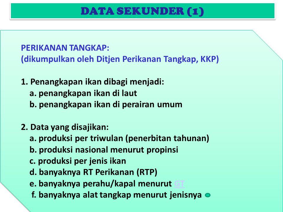 DATA SEKUNDER (1) PERIKANAN TANGKAP: (dikumpulkan oleh Ditjen Perikanan Tangkap, KKP) 1.