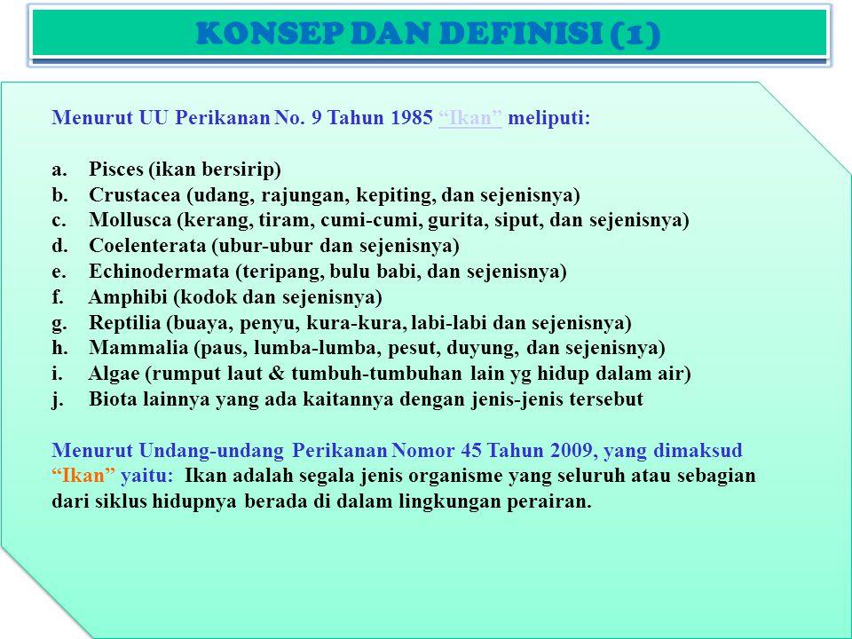 KONSEP DAN DEFINISI (2) Menurut UU Perikanan No.9 Tahun 1985 Ikan meliputi: Ikan a.