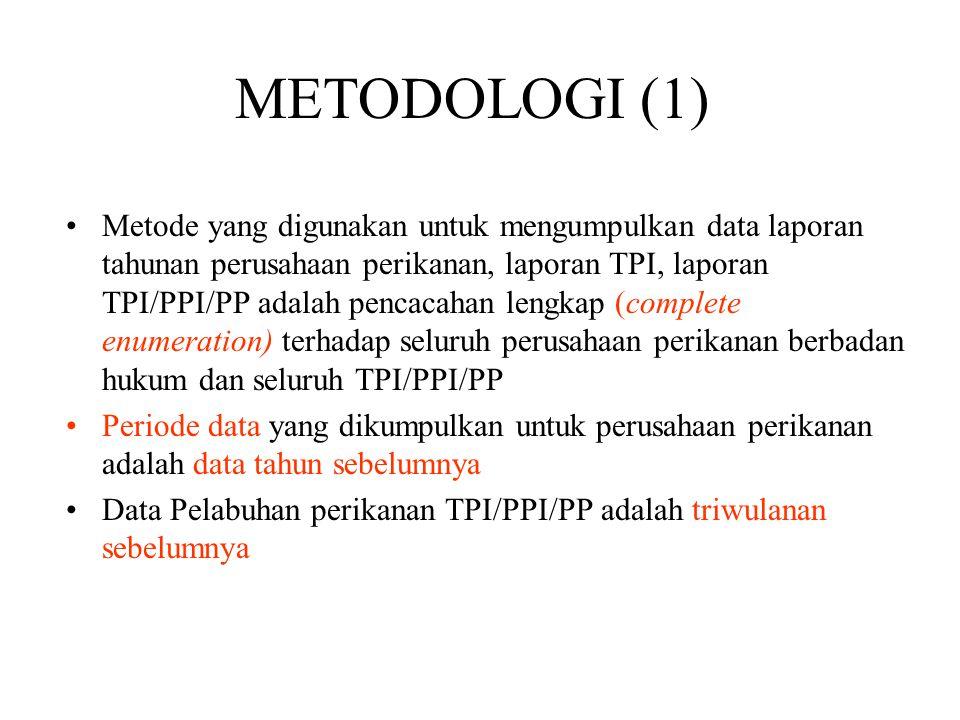 Metode yang digunakan untuk mengumpulkan data laporan tahunan perusahaan perikanan, laporan TPI, laporan TPI/PPI/PP adalah pencacahan lengkap (complete enumeration) terhadap seluruh perusahaan perikanan berbadan hukum dan seluruh TPI/PPI/PP Periode data yang dikumpulkan untuk perusahaan perikanan adalah data tahun sebelumnya Data Pelabuhan perikanan TPI/PPI/PP adalah triwulanan sebelumnya METODOLOGI (1)