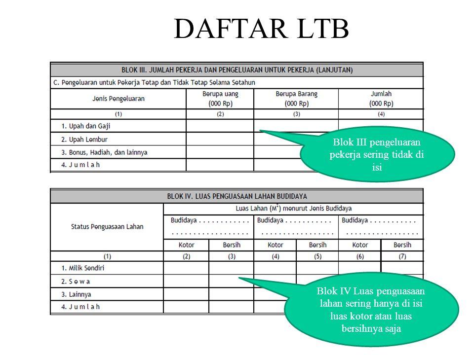 DAFTAR LTB Blok IV Luas penguasaan lahan sering hanya di isi luas kotor atau luas bersihnya saja Blok III pengeluaran pekerja sering tidak di isi