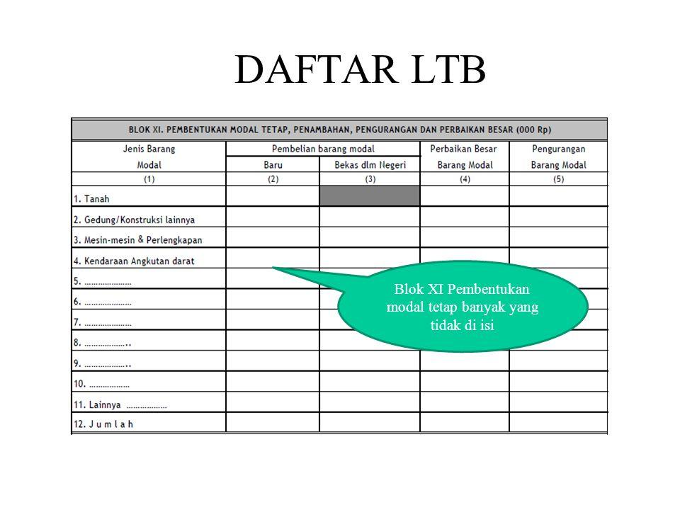 DAFTAR LTB Blok XI Pembentukan modal tetap banyak yang tidak di isi
