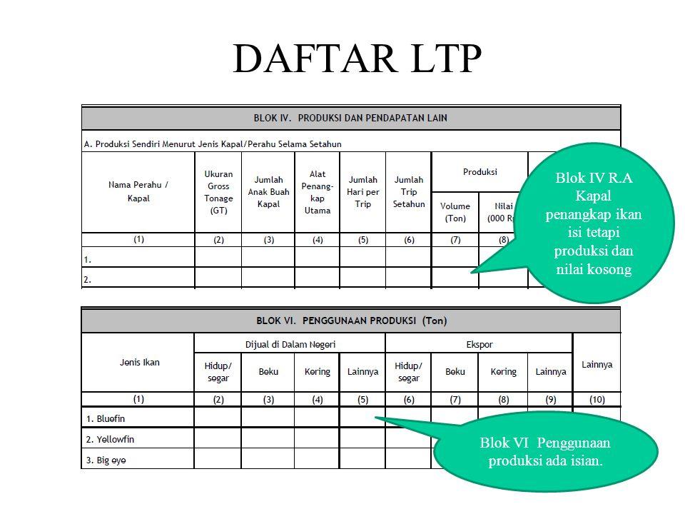 DAFTAR LTP Blok VI Penggunaan produksi ada isian.