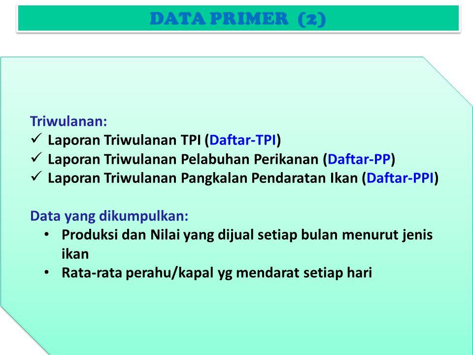 DATA PRIMER (2) Triwulanan: Laporan Triwulanan TPI (Daftar-TPI) Laporan Triwulanan Pelabuhan Perikanan (Daftar-PP) Laporan Triwulanan Pangkalan Pendaratan Ikan (Daftar-PPI) Data yang dikumpulkan: Produksi dan Nilai yang dijual setiap bulan menurut jenis ikan Rata-rata perahu/kapal yg mendarat setiap hari Triwulanan: Laporan Triwulanan TPI (Daftar-TPI) Laporan Triwulanan Pelabuhan Perikanan (Daftar-PP) Laporan Triwulanan Pangkalan Pendaratan Ikan (Daftar-PPI) Data yang dikumpulkan: Produksi dan Nilai yang dijual setiap bulan menurut jenis ikan Rata-rata perahu/kapal yg mendarat setiap hari