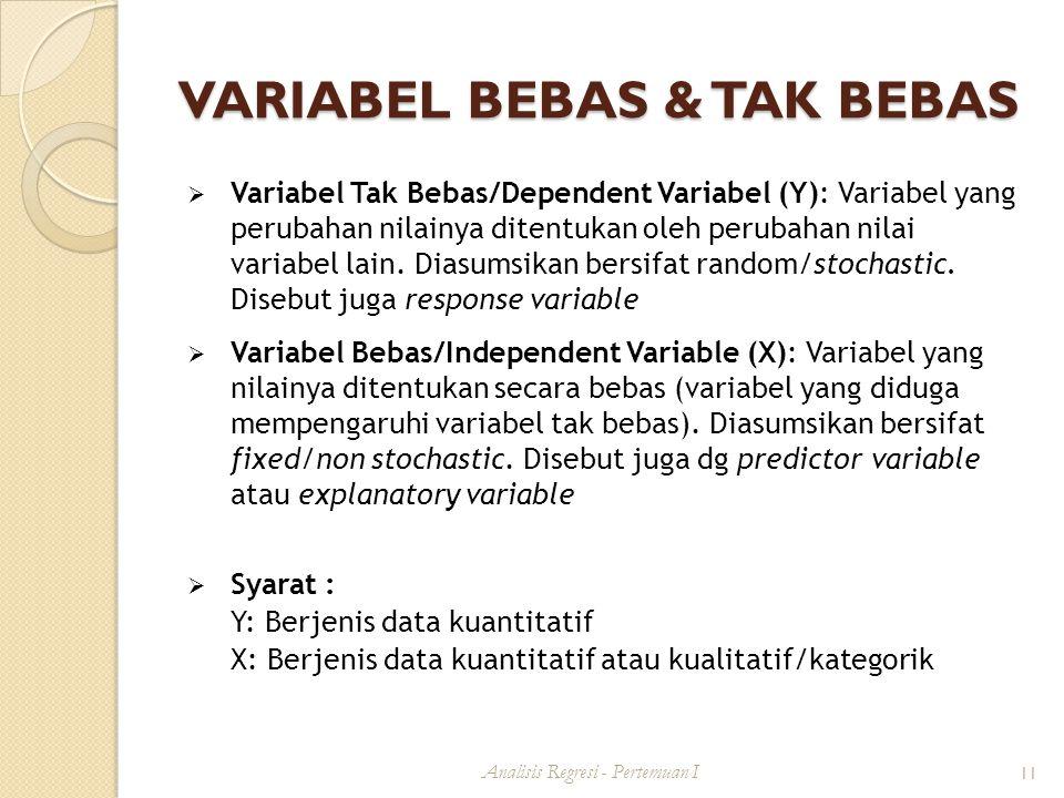 VARIABEL BEBAS & TAK BEBAS  Variabel Tak Bebas/Dependent Variabel (Y): Variabel yang perubahan nilainya ditentukan oleh perubahan nilai variabel lain.