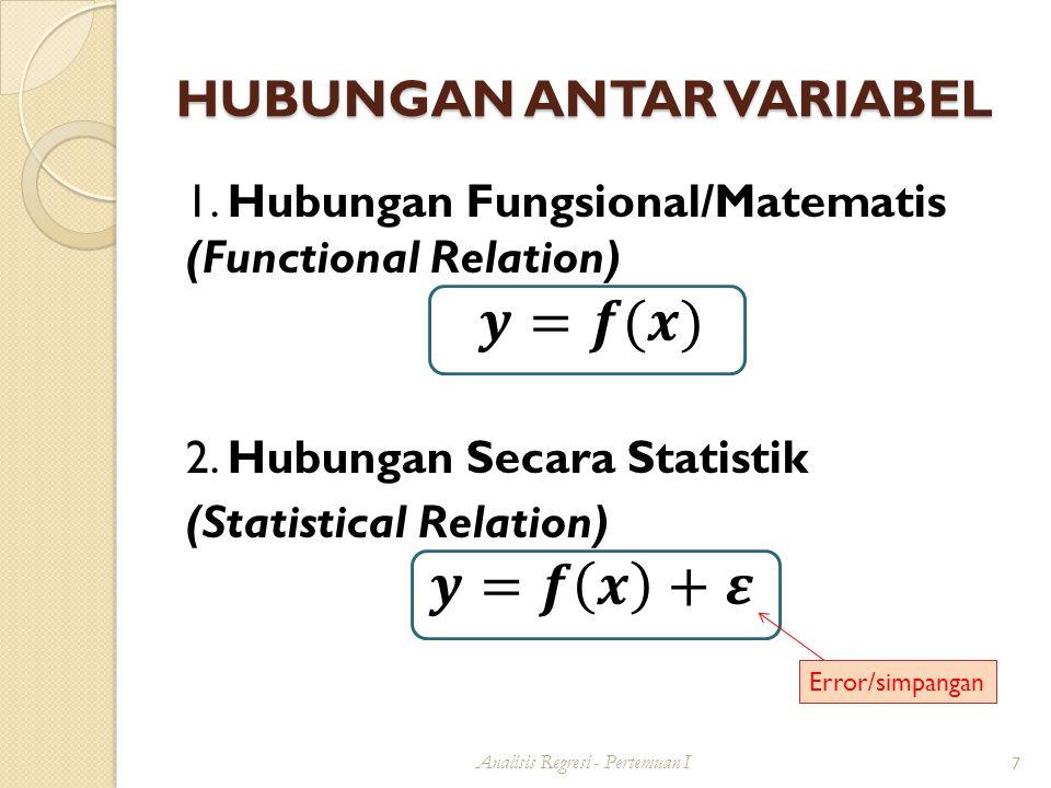 HUBUNGAN ANTAR VARIABEL Analisis Regresi - Pertemuan I 7 Error/simpangan