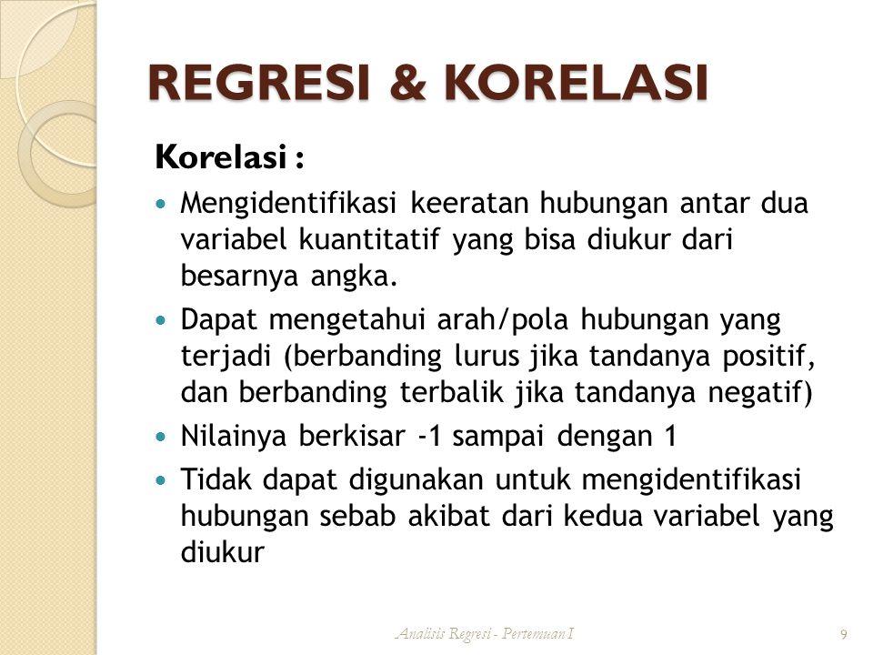 TERIMA KASIH Analisis Regresi - Pertemuan I 20