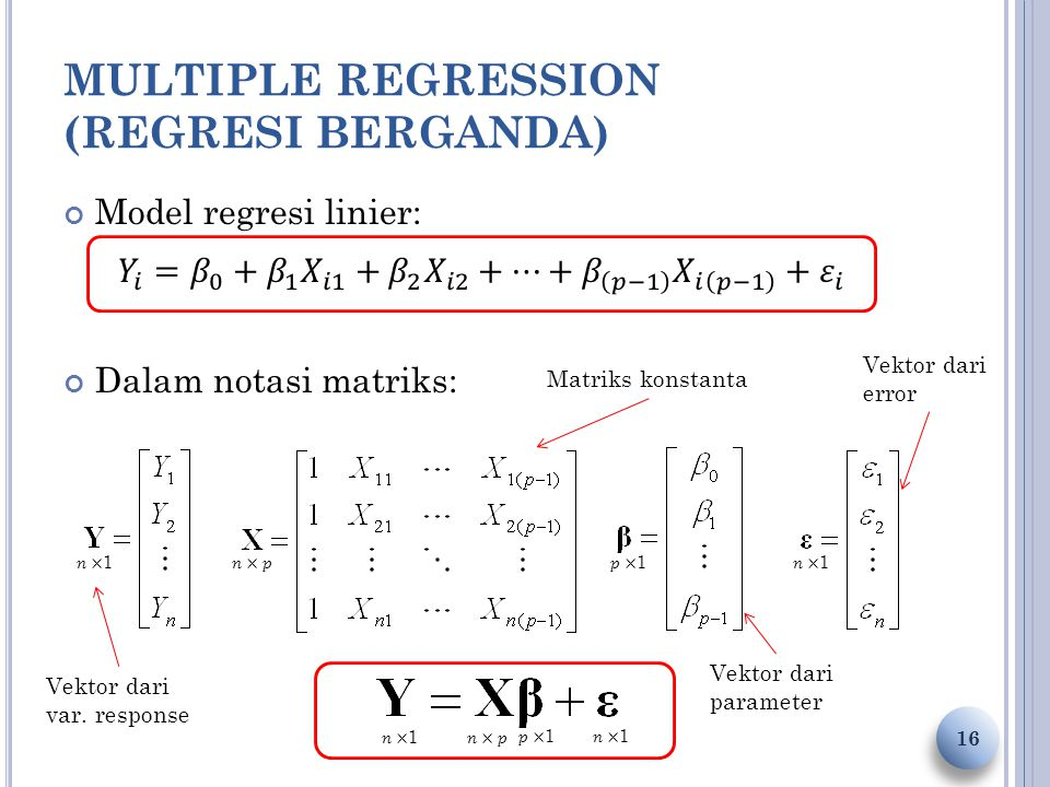 MULTIPLE REGRESSION (REGRESI BERGANDA) 16 Vektor dari var. response Vektor dari parameter Matriks konstanta Vektor dari error